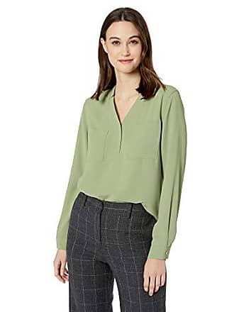 Nine West Womens Long Sleeve V-Neck Light Weight Crepe 2 Pocket Blouse, Cyprus, M