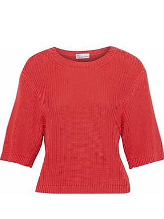 Red Valentino Redvalentino Woman Ribbed Cotton Sweater Tomato Red Size XS