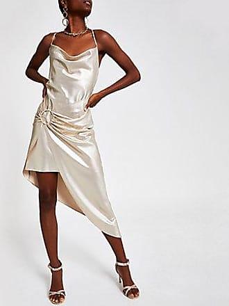 River Island Womens Gold asymmetric slip dress