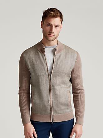 Hackett Mens Tweed Panel Bomber Cotton Jacket | 2XL | DarkTaupe