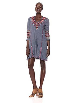 6050cf11799 Johnny Was Womens 3/4 Sleeve Drape Tunic Dress, Midnight Blue M