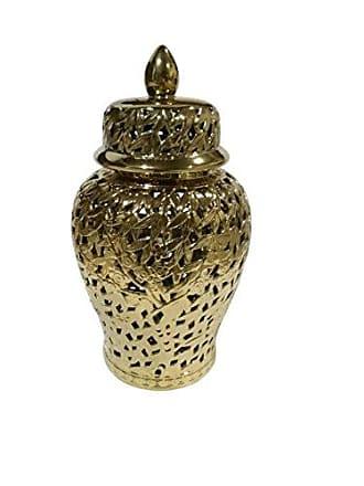 Sagebrook Home Pierced Ceramic Temple JAR, Gold, 13.75x13.75x24