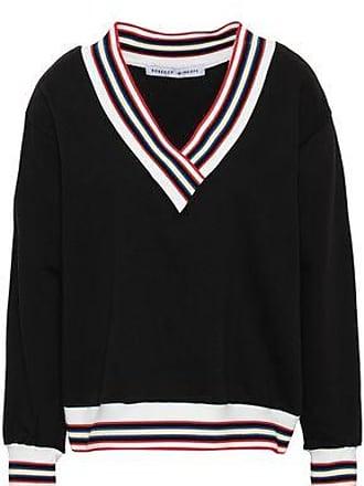 Rebecca Minkoff Rebecca Minkoff Woman Kristine Striped Cotton-blend Fleece Sweatshirt Black Size XXS