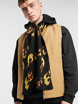 Asos fluffy scarf in black with flames-Multi