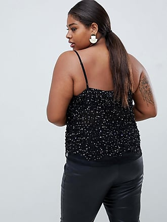 3083d0369f7 Asos Curve ASOS DESIGN Curve cami top with sequin embellishment - Black