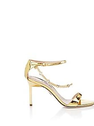 ffbbbf7d4273 Miu Miu Womens Embellished Patent Leather Ankle-Strap Sandals - Gold Size  6.5