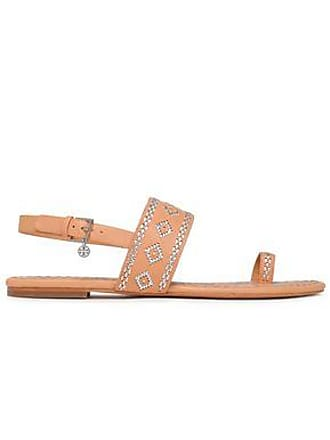 a06b4ba5c7e0 Tory Burch Tory Burch Woman Embroidered Leather Sandals Sand Size 5.5