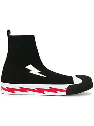 Neil Barrett lightning bolt sock hi-top sneakers - Black