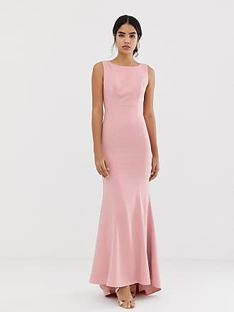 0f2ad580a05833 Jarlo maxi dress with lace open back and train in pink