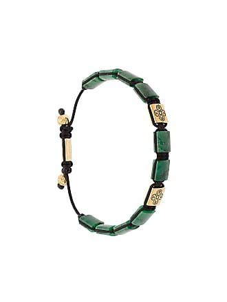 Nialaya Bracelete Dorja Flatbead com jade africana - Verde