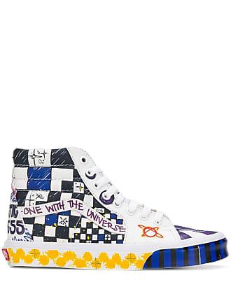 Vans hi-tops checkered graffiti sneakers - White