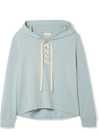 Eberjey Mason Lace-up Stretch-pima Cotton And Modal-blend Hoodie - Sky blue