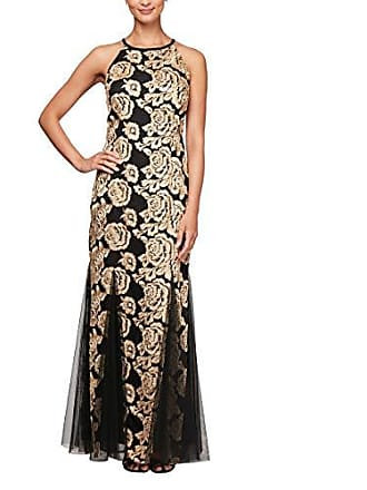 Alex Evenings Womens Embroidered Dress with Illusion Neckline, Black/Gold, 14