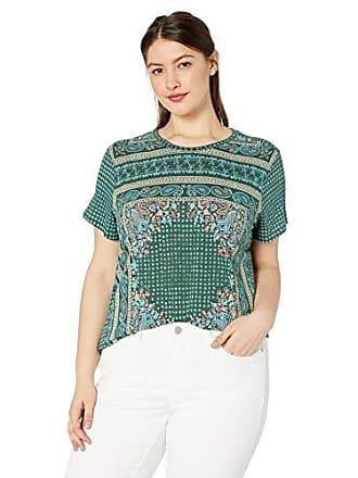 Lucky Brand Womens Plus Size Scarf Print TEE, Green Multi, 1X
