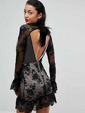 17ed337f7a Asos Tall High Neck Open Back Lace Mini Dress