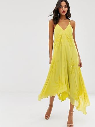 378c7ffb56 Asos ASOS Edition - Robe trapèze caraco ornée de fleurs - Jaune