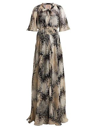 9618843863d7 N°21 Chrysanthemum Print Silk Chiffon Maxi Dress - Womens - Black Multi