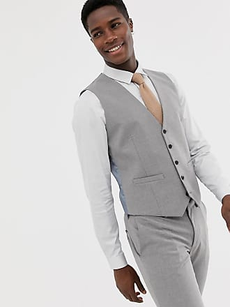 Burton Menswear wedding skinny fit suit vest in gray - Gray