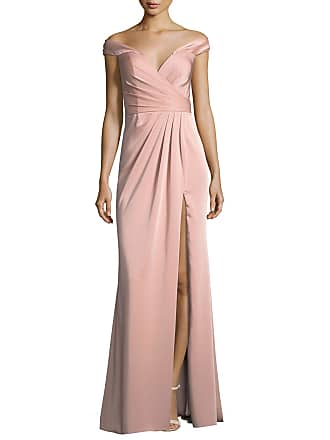 cac788b7f10 Faviana Off-the-Shoulder Column Faille Satin Evening Gown