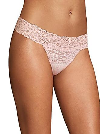 99d6d12bbe49 Maidenform Womens Sexy Must Haves Lace Thong, Ivory Pirouette Stripe/Pink  PIPIROUETTE, 7