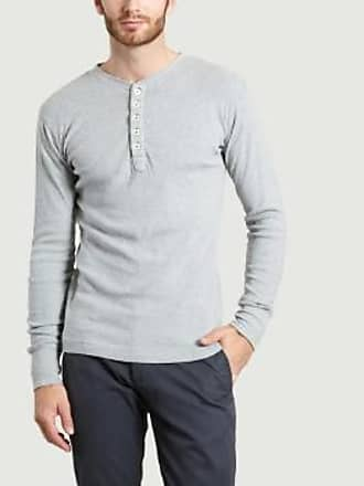 Knowledge Cotton Apparel Graues Baumwoll-Henley-T-Shirt - gray | small | cotton