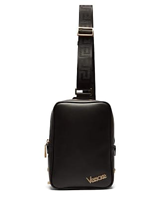 Versace Logo Plaque Leather Cross Body Bag - Mens - Black