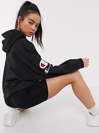 Champion sleeve logo cropped hoodie-Black