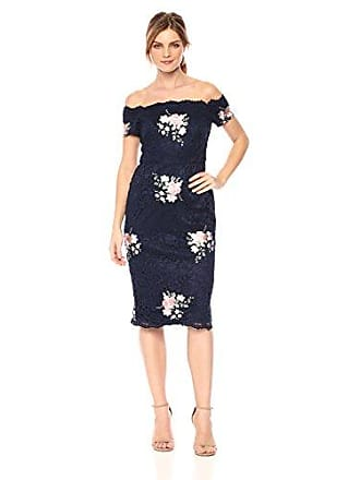 Nicole Miller Womens Embroidered Lace Off-the-Shoulder Cocktail Dress, Navy, 12