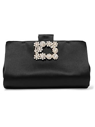 Roger Vivier Crystal-embellished Satin Clutch - Black 755588237d3c6