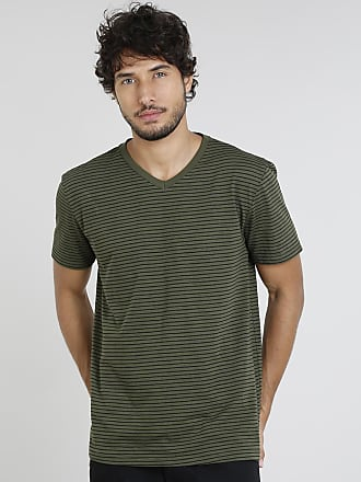 5f539c0a31 Basics Camiseta Masculina Básica Listrada Manga Curta Gola V Verde Militar