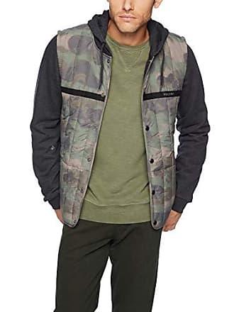 Volcom Mens Stripester Medium Weight Hooded Puff Jacket, Camouflage