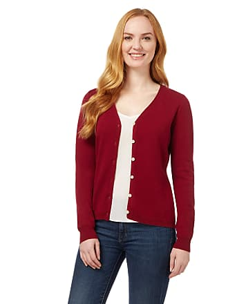WoolOvers Womens Cashmere and Merino Luxurious V Neck Cardigan Burgundy 8f7eb749f