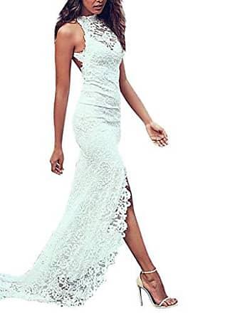 617e254eafeca0 SCHOLIEBEN Sommer Kleid Kleider Sommerkleider Damen Vintage Elegant Sexy  Maxi Lang Weiß Spitze Hochzeit Party Schickes