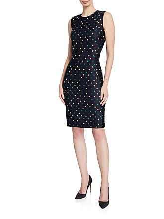 Iconic American Designer Polka-Dot Crepe Sheath Dress