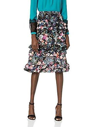 Nicole Miller Womens Knee Length Flowy Midi Skirt, Black Multi Floral, 10