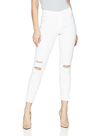 Hue Womens Ripped Cuffed Curvy Fit Denim Skimmer Leggings, white, XS