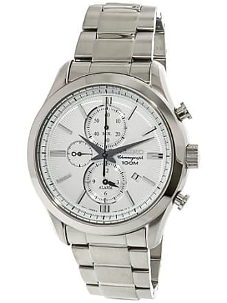Seiko Mens SNAF63 Silver Stainless-Steel Japanese Chronograph Fashion Watch
