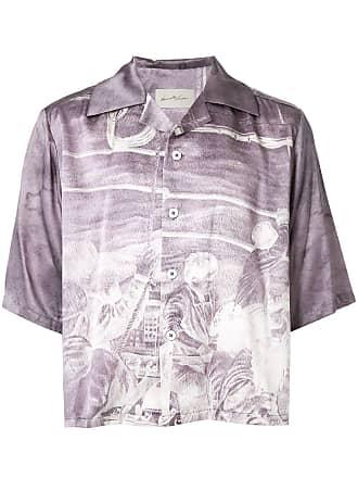 Necessity Sense Camisa cropped com botões - Roxo