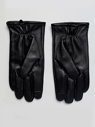 Asos leather gloves in black with touchscreen - Black