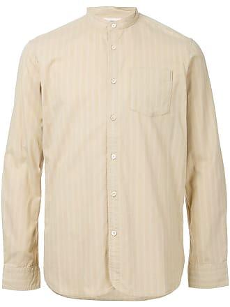 Kent & Curwen band collar striped shirt - Brown