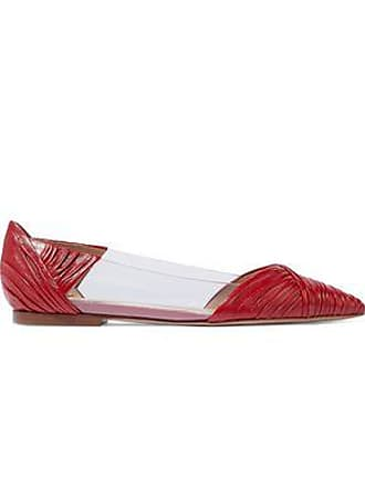 ac3be7216cb Valentino Valentino Garavani Woman Gathered Leather And Pvc Point-toe Flats  Red Size 37.5