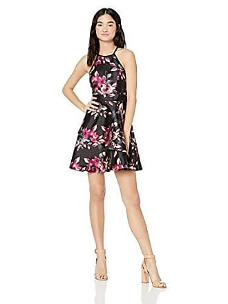 fbe3f96bba9 Speechless Juniors womens Teen Fit & Flare Dress with Layered Skirt, Black  Mauve Floral,