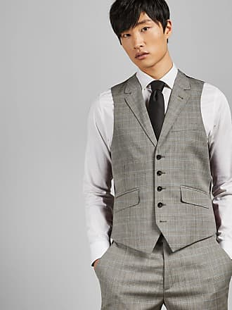 Ted Baker Sterling Wool Checked Waistcoat in Light Grey WASPW, Mens Clothing