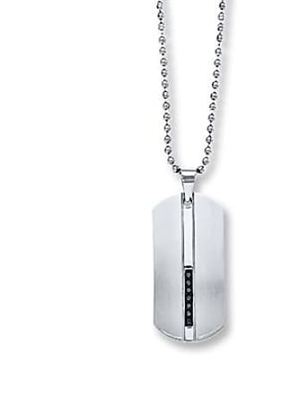 840837668 Jared The Galleria Of Jewelry Mens Necklace 1/8 ct tw Black Diamonds Stainless  Steel
