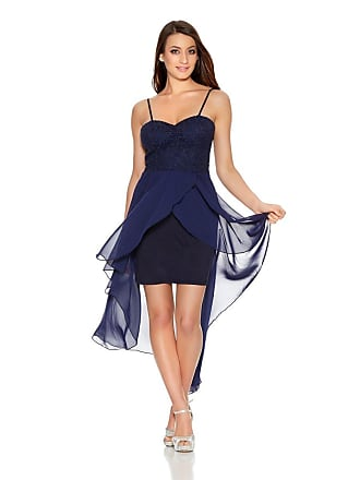 0389c12006 Quiz RRP £37 Brand New Quiz Navy Glitter Lace Chiffon Dip Hem Dress SIZES 6