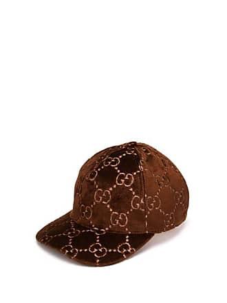 6cd286e4a04 Gucci Gg Embroidered Velvet Cap - Womens - Brown