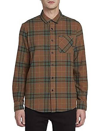 562aaf8c7 Volcom Mens Caden Classic Flannel Long Sleeve Shirt, Mud Large