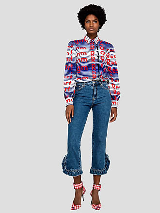 Msgm denim trousers with rouches