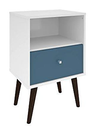 Manhattan Comfort Liberty Collection Mid Century Modern Nightstand With One Open Shelf and One Drawer, Splayed Legs, White/Blue
