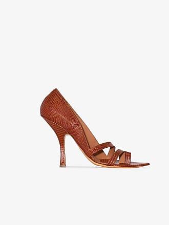 Y / Project burnt orange 110 snakeskin embossed leather sandals